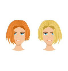 set of female face with different hairstyles vector image