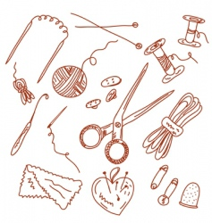 Sewing and knitting doodles vector