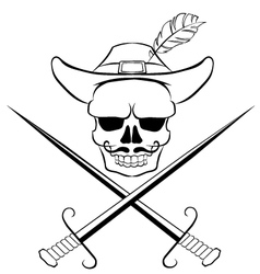 Skull with crossed swords vector