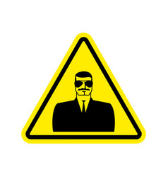 Spy warning sign yellow secret agent hazard vector