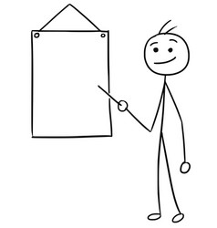 stickman cartoon of men pointing at empty sign vector image