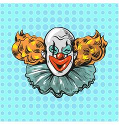 Vintage clown pop art comic style poster vector