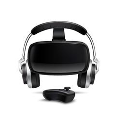 Vr headset headphones gamepad realistic image vector