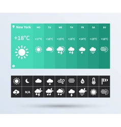 Weather widget ui set of the flat design trend vector