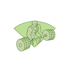 Weightlifter Lifting Barbell Mono Line vector image vector image