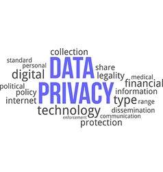 word cloud data privacy vector image
