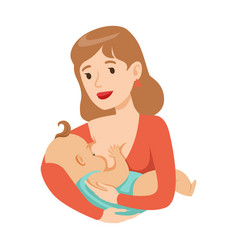 Young mother breastfeeding her baby with breast vector