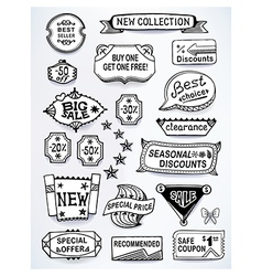 Black-white set of promotional sales english text vector