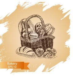 Sketch - bakery shop loaf vector