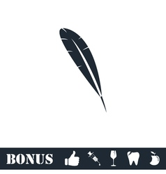 Feather icon flat vector