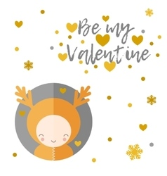 Be my valentine greeting card  reindeer vector