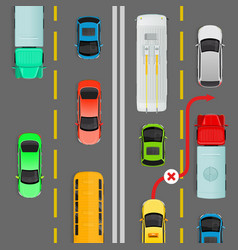 overtaking in dense traffic flow diagram vector image