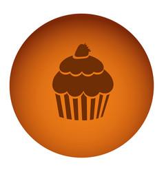 Orange emblem muffin icon vector