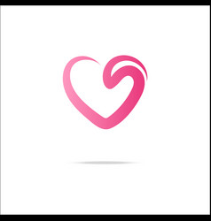 heart logo with swirl vector image