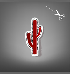 Cactus simple sign  red icon with for vector