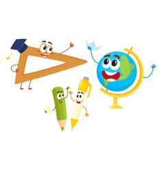 Funny smiling pen pencil ruler globe characters vector