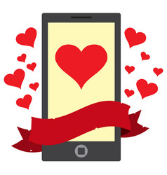 Phone message heart color on the theme of travel vector