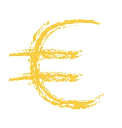 Euro sign brushed vector