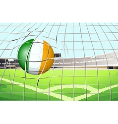 A ball with the Ireland Flag hitting a goal vector image
