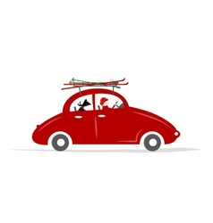 Man and dog in red car with skis on the roof rack vector image