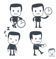Time icon man set030 vector