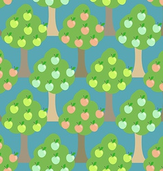 Apple tree seamless pattern orchard background vector