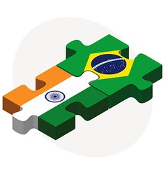 India and brazil flags in puzzle vector