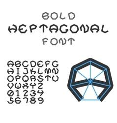Bold Heptagonal Alphabet And Digits Geometric vector image