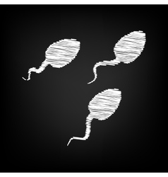 Sperms sign scribble effect vector