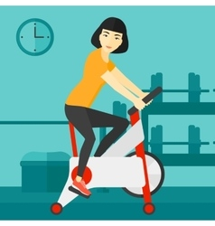Woman doing cycling exercise vector