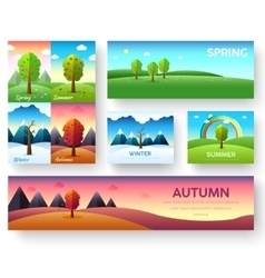 Weather seasons icons on nature ecology background vector