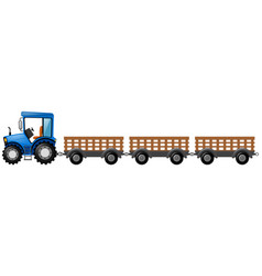 Blue tractor with three wagons vector