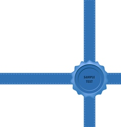 Blue wax seal with bow vector