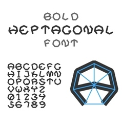 Bold heptagonal alphabet and digits geometric vector