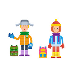 Boy and girl in winter clothing in cold weather vector