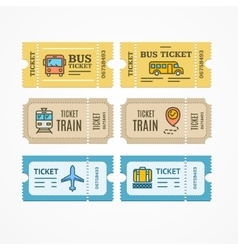 Bus train airplane tickets flat icon vector