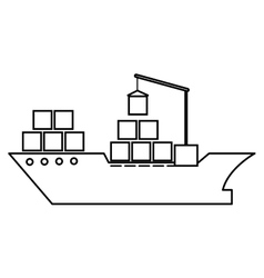 Cargo ship silhouette icon vector