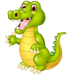 Cartoon funny crocodile waving hand isolated vector image