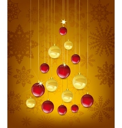 christmas card with tree in the shape of balls vector image vector image