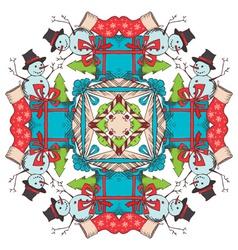 Christmas square snowflake vector