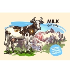 cow and mountains vector image vector image