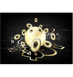 Digital currency worldwide financing golden vector