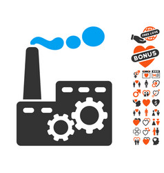 factory building icon with dating bonus vector image