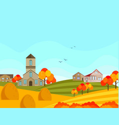 farm village atumn season with hay background vector image