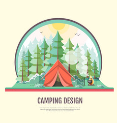 Flat design of retro forest landscape and camping vector