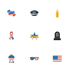 flat icons memorial day spectacles barbecue and vector image vector image