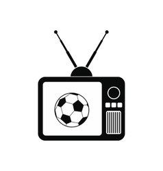 Football match on an old tv icon vector