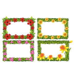 frame template with colorful flowers vector image