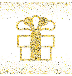 Gold dotted gift box vector