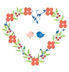 Heart wreath with birds pink vector